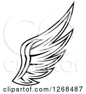 Clipart Of A Black And White Feathered Wing 6 Royalty Free Vector Illustration