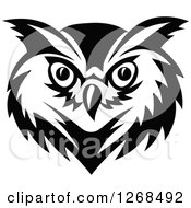 Clipart Of A Black And White Owl Face Royalty Free Vector Illustration