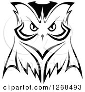 Clipart Of A Black And White Owl Face 2 Royalty Free Vector Illustration