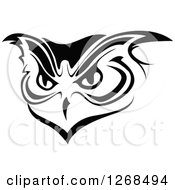 Clipart Of A Black And White Owl Face 3 Royalty Free Vector Illustration