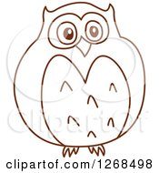 Clipart Of A Sketched Brown Owl Royalty Free Vector Illustration