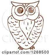 Clipart Of A Sketched Brown Owl 3 Royalty Free Vector Illustration