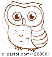 Clipart Of A Sketched Brown Owl 4 Royalty Free Vector Illustration