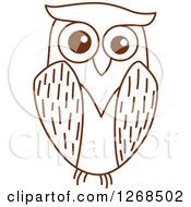 Clipart Of A Sketched Brown Owl 5 Royalty Free Vector Illustration