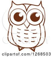 Clipart Of A Sketched Brown Owl 6 Royalty Free Vector Illustration