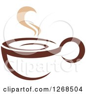 Clipart Of A Two Toned Tan And Brown Steamy Coffee Cup 12 Royalty Free Vector Illustration