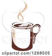 Clipart Of A Two Toned Tan And Brown Steamy Coffee Cup 11 Royalty Free Vector Illustration
