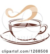 Clipart Of A Two Toned Tan And Brown Steamy Coffee Cup On A Saucer 11 Royalty Free Vector Illustration