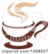 Clipart Of A Two Toned Tan And Brown Steamy Coffee Cup 10 Royalty Free Vector Illustration