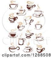 Clipart Of Two Toned Tan And Brown Steamy Coffee Cup Designs 2 Royalty Free Vector Illustration