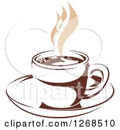 Clipart Of A Two Toned Tan And Brown Steamy Coffee Cup On A Saucer 12 Royalty Free Vector Illustration