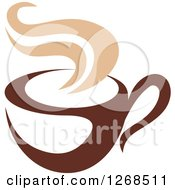 Clipart Of A Two Toned Tan And Brown Steamy Coffee Cup 13 Royalty Free Vector Illustration
