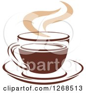 Clipart Of A Two Toned Tan And Brown Steamy Coffee Cup On A Saucer 10 Royalty Free Vector Illustration