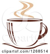 Clipart Of A Two Toned Tan And Brown Steamy Coffee Cup On A Saucer 9 Royalty Free Vector Illustration