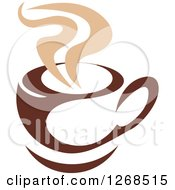 Clipart Of A Two Toned Tan And Brown Steamy Coffee Cup 9 Royalty Free Vector Illustration