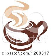Clipart Of A Two Toned Tan And Brown Steamy Coffee Cup 7 Royalty Free Vector Illustration