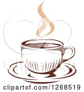 Clipart Of A Two Toned Tan And Brown Steamy Coffee Cup On A Saucer 8 Royalty Free Vector Illustration