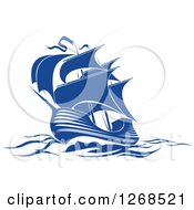 Clipart Of A Blue Ship At Sea 4 Royalty Free Vector Illustration