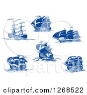 Clipart Of Blue Ships At Sea Royalty Free Vector Illustration