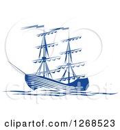 Clipart Of A Blue Ship At Sea Royalty Free Vector Illustration