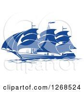 Clipart Of A Blue Ship At Sea 2 Royalty Free Vector Illustration