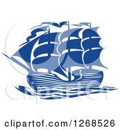 Clipart Of A Blue Ship At Sea 5 Royalty Free Vector Illustration