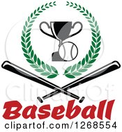 Clipart Of A Championship Trophy And Baseball In A Wreath Over Text And Crossed Bats Royalty Free Vector Illustration