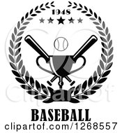 Clipart Of A Black And White Championship Trophy Text Stars And Baseball With Crossed Bats In A Wreath Royalty Free Vector Illustration