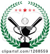 Clipart Of A Championship Trophy And Baseball With Crossed Bats And Stars In A Wreath Royalty Free Vector Illustration