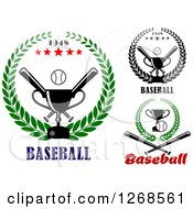 Clipart Of Championship Trophy Baseball Crossed Bat And Wreath Designs Royalty Free Vector Illustration