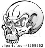 Clipart Of A Grayscale Human Skull With Eyes Royalty Free Vector Illustration