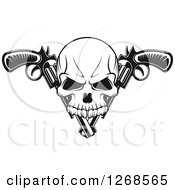 Clipart Of A Black And White Gangster Skull Over Crossed Pistols Royalty Free Vector Illustration by Vector Tradition SM