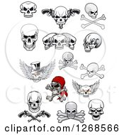 Clipart Of Human Skull Designs Royalty Free Vector Illustration