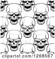 Poster, Art Print Of Seamless Background Pattern Of Black And White Human Skulls