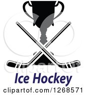Clipart Of A Black And White Trophy Cup With Crossed Hockey Sticks Over Blue Text Royalty Free Vector Illustration
