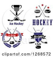 Clipart Of Hockey Stick Puck And Trophy Designs Royalty Free Vector Illustration