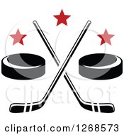 Clipart Of Black And White Hockey Pucks And Crossed Sticks With Red Stars Royalty Free Vector Illustration