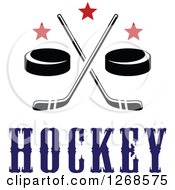 Clipart Of Black And White Hockey Pucks And Crossed Sticks With Red Stars And Text Royalty Free Vector Illustration