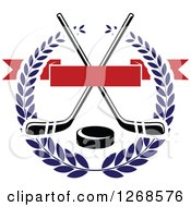 Clipart Of A Black And White Crossed Hockey Sticks And Puck In A Blue Wreath With A Blank Red Banner Royalty Free Vector Illustration by Vector Tradition SM