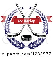 Clipart Of A Black And White Crossed Hockey Sticks And Puck In A Blue Wreath With A Red Text Banner Royalty Free Vector Illustration