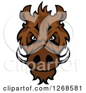 Clipart Of A Brown Vicious Razorback Boar Mascot Head Royalty Free Vector Illustration