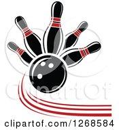 Poster, Art Print Of Bowling Ball Crashing Into Red And Black Pins