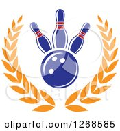 Poster, Art Print Of Blue Bowling Ball And Pins In A Golden Laurel Wreath