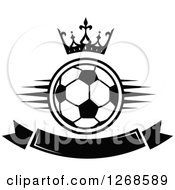 Clipart Of A Black And White Crown Over A Soccer Ball And Blank Banner Royalty Free Vector Illustration by Vector Tradition SM