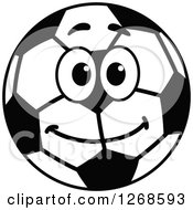 Black And White Happy Soccer Ball Character