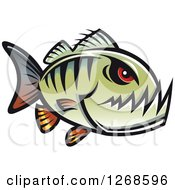 Clipart Of A Red Eyed Green Piranha Fish Royalty Free Vector Illustration by Vector Tradition SM