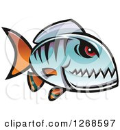 Clipart Of A Red Eyed Blue Piranha Fish Royalty Free Vector Illustration