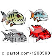 Clipart Of Red Eyed Piranha Fish Royalty Free Vector Illustration