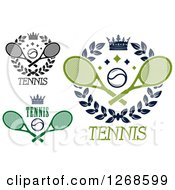 Clipart Of Crowns And Laurel Wreaths With Tennis Balls And Rackets Royalty Free Vector Illustration
