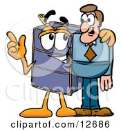 Suitcase Cartoon Character Talking To A Business Man